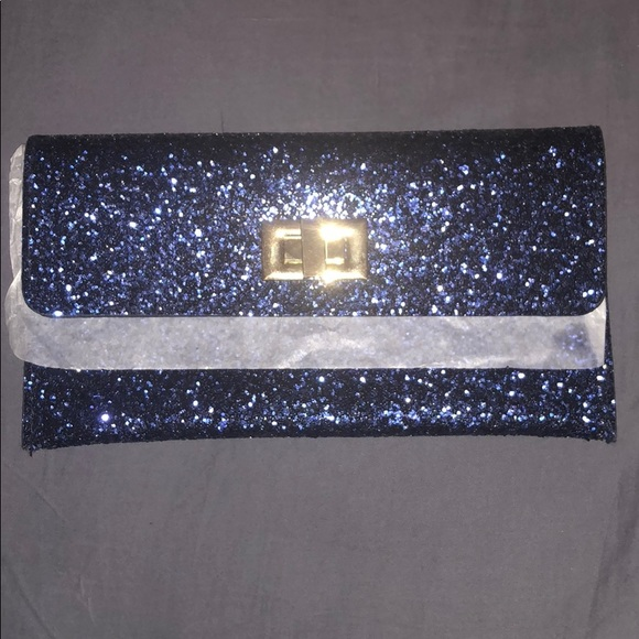 bags navy blue glitter clutch poshmark